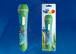 Uniel RIO Фонарик карманный пластмассовый с мини проектором, 1 светодиод, 3 слайда (входят в комплект), зеленый,блистер арт. 09053