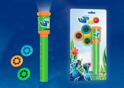 Uniel RIO Фонарик карманный пластмассовый с мини проектором, 1 светодиод, 3 слайда (входят в комплект),оранжевый, блистер арт. 09054