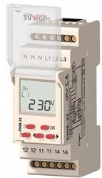 Zamel Реле напряжения 3Ф 16А ЖК рег. 100/290VAC (Umin/Umax) IP20 на DIN рейку арт. PNM-32