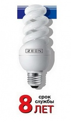 Zeon Лампа люминесцентная компактная спираль 11W Е27 220V тёпло-белая арт. SPC 11W E2727
