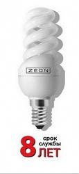 Zeon Лампа люминесцентная компактная спираль 13W Е14 220V тёпло-белая арт. SPC 13W E1427