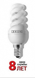 Zeon Лампа люминесцентная компактная спираль 13W E14 холодно-белая арт. SPC 13W E1442