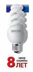 Zeon Лампа люминесцентная компактная спираль 9W Е27 220V тёпло-белая арт. SPC 9W E2727
