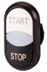 """Двойная кнопка с сигнальной лампой с обозначением """"start"""", """"stop"""", цвет белый/черный, черное лицевое кольцо (M22S-DDL-WS-GB1/GB0) арт.216709"""