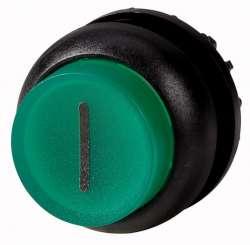 Головка кнопки с подсветкой, выступающие, без фиксации, цвет зеленый, черное лицевое кольцо (M22S-DLH-G-X1) арт.216978