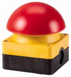 Выключатель, управлямый ногой или ладонью с фиксацией, отмена фиксации вытягиванием,1Р, цвет колпачка красный,корпуса желтый (FAK-R/V/KC01/IY) арт.229747