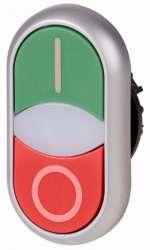 Двойная кнопка с сигнальной лампой, плоский, белый/черный с инд. Гравировкой (M22-DDLF-*-*-*) арт.284818