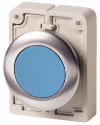 Кнопка плоская 30мм, голубая, с фиксацией арт.M30C-FDR-B