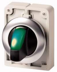 переключатель плоский 30мм, с подсветкой, зеленый, 3 позиции арт.M30C-FWLK3-G