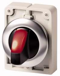 переключатель плоский 30мм, с подсветкой, красный, 3 позиции арт.M30C-FWLK3-R