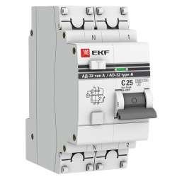 Дифференциальный автомат АД-32 1P+N 25А/10мА (тип А) EKF PROxima