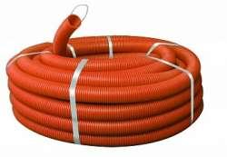 Труба ПНД гибкая гофр. д.32мм, тяжёлая с протяжкой, 25м, цвет оранжевый