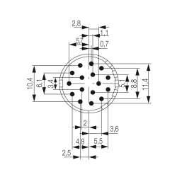 Weidmuller 1224270000 SAI-M23-BE-16-10мм.квИсполнение: Концентратор сигналов, соединительный разъем