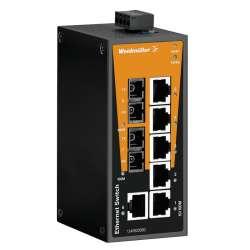 Weidmuller 1240920000 IE-SW-BL08T-6TX-2SC Исполнение: Сетевой выключатель, unmanaged, Fast Ethernet, Количество портов: 6 x RJ45, 2 * SC, многомодовый, IP30, -40 °C...75 °C