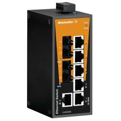 Weidmuller 1240930000 IE-SW-BL08-6TX-2ST Исполнение: Сетевой выключатель, unmanaged, Fast Ethernet, Количество портов: 6 x RJ45, 2 * ST, многомодовый, IP30, -10 °C...60 °C