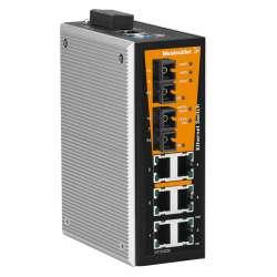 Weidmuller 1241020000 IE-SW-VL08MT-6TX-2SCS Исполнение: Сетевой выключатель, managed, Fast Ethernet, Количество портов: 6 x RJ45, 2 * SC, одномодовый, IP30, -40 °C...75 °C