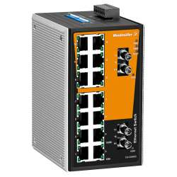 Weidmuller 1241050000 IE-SW-VL16-14TX-2ST Исполнение: Сетевой выключатель, unmanaged, Fast Ethernet, Количество портов: 14 x RJ45, 2 * ST, многомодовый, IP30, 0 °C...60 °C