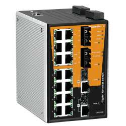 Weidmuller 1241330000 IE-SW-PL18M-2GC14TX2SC Исполнение: Сетевой выключатель, managed, Gigabit Ethernet, Количество портов: 14 * RJ45 10/100BaseT(X), 2 * SC, многомодовый 100FX, 2* комбинированных порта (10/100/1000BaseT(X) или 1000BaseSFP), IP30, 0 °C..