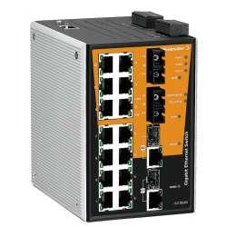 Weidmuller 1241350000 IE-SW-PL18M-2GC14TX2SCS Исполнение: Сетевой выключатель, managed, Gigabit Ethernet, Количество портов: 14 * RJ45 10/100BaseT(X), 2 * SC, одномодовый, 2* комбинированных порта (10/100/1000BaseT(X) или 1000BaseSFP), IP30, 0 °C...60 °C