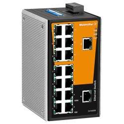 Weidmuller 1286590000 IE-SW-VL16T-16TX Исполнение: Сетевой выключатель, unmanaged, Fast Ethernet, Количество портов: 16 x RJ45, IP30, -40 °C...75 °C