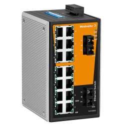 Weidmuller 1286610000 IE-SW-VL16T-14TX-2SC Исполнение: Сетевой выключатель, unmanaged, Fast Ethernet, Количество портов: 14 x RJ45, 2 * SC, многомодовый, IP30, -40 °C...75 °C