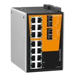 Weidmuller 1286830000 IE-SW-PL16MT-14TX-2SC Исполнение: Сетевой выключатель, managed, Fast Ethernet, Количество портов: 14 x RJ45, 2 * SC, многомодовый, IP30, -40 °C...75 °C