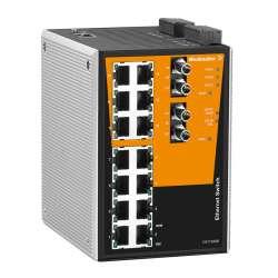 Weidmuller 1286840000 IE-SW-PL16MT-14TX-2ST Исполнение: Сетевой выключатель, managed, Fast Ethernet, Количество портов: 14 x RJ45, 2 * ST, многомодовый, IP30, -40 °C...75 °C