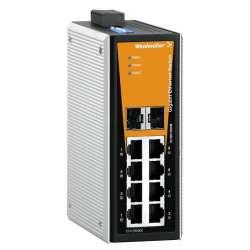 Weidmuller 1286870000 IE-SW-VL08T-6GT-2GS Исполнение: Сетевой выключатель, unmanaged, Gigabit Ethernet, Количество портов: 6 * RJ45 10/100/1000BaseT(X), 2 * комбинированные порты (10/100/1000BaseT(X) или 100/1000BaseSFP), IP30, -40 °C...75 °C