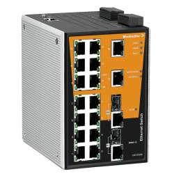 Weidmuller 1286970000 IE-SW-PL18MT-2GC-16TX Исполнение: Сетевой выключатель, managed, Gigabit Ethernet, Количество портов: 16 * RJ45 10/100BaseT(X), 2* комбинированных порта (10/100/1000BaseT(X) или 1000BaseSFP), IP30, -40 °C...75 °C