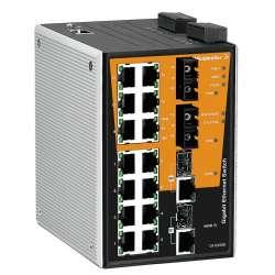 Weidmuller 1286990000 IE-SW-PL18MT-2GC14TX2SC Исполнение: Сетевой выключатель, managed, Gigabit Ethernet, Количество портов: 14 * RJ45 10/100BaseT(X), 2 * SC, многомодовый 100FX, 2* комбинированных порта (10/100/1000BaseT(X) или 1000BaseSFP), IP30, -40 °