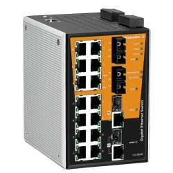 Weidmuller 1287010000 IE-SW-PL18MT-2GC14TX2SCS Исполнение: Сетевой выключатель, managed, Gigabit Ethernet, Количество портов: 14 * RJ45 10/100BaseT(X), 2 * SC, одномодовый, 2* комбинированных порта (10/100/1000BaseT(X) или 1000BaseSFP), IP30, -40 °C...75
