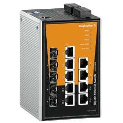 Weidmuller 1287020000 IE-SW-PL09MT-5GC-4GT Исполнение: Сетевой выключатель, managed, Gigabit Ethernet, Количество портов: 4 * RJ45 10/100/1000BaseT(X), 5 * комбинированные порты (10/100/1000BaseT(X) или 100/1000BaseSFP), IP30, -40 °C...75 °C