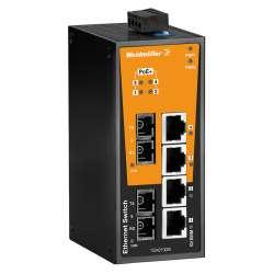 Weidmuller 1504220000 IE-SW-BL06T-4POE-2SC Исполнение: Сетевой выключатель, unmanaged PoE, Fast Ethernet, Количество портов: 4 * RJ45 10/100 BaseT(X) PoE+, 2 * SC, многомодовый, IP30, -40 °C...75 °C
