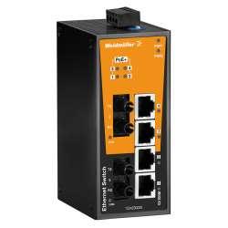 Weidmuller 1504230000 IE-SW-BL06-4POE-2ST Исполнение: Сетевой выключатель, unmanaged PoE, Fast Ethernet, Количество портов: 4 * RJ45 10/100 BaseT(X) PoE+, 2 * ST, многомодовый, IP30, 0 °C...60 °C