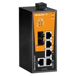 Weidmuller 1504270000 IE-SW-BL06-1TX-4POE-1ST Исполнение: Сетевой выключатель, unmanaged PoE, Fast Ethernet, Количество портов: 1 * RJ45 10/100BaseT(X), 4 * RJ45 10/100 BaseT(X) PoE+, 1 * ST, многомодовый, IP30, 0 °C...60 °C