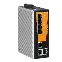 Weidmuller 1504390000 IE-SW-VL05MT-3TX-2ST Исполнение: Сетевой выключатель, managed, Fast Ethernet, Количество портов: 3 x RJ45, 2 * ST, многомодовый, IP30, -40 °C...75 °C